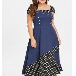 Dresses & Skirts - Tiered Maxi Dress Retro Rockabilly Polka Dots